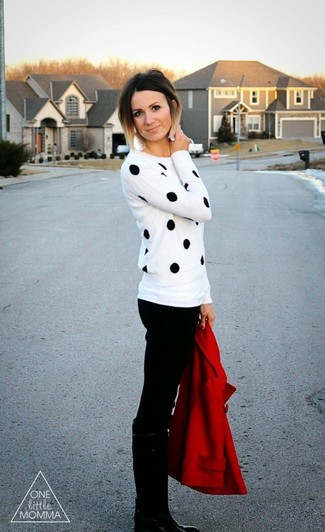 Consider wearing a red pea coat and black skinny jeans to create a chic, glamorous look. Round off this look with black leather knee high boots.