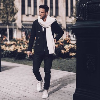 How to Wear White Leather High Top Sneakers In Your 30s For Men: Teaming a black pea coat and black jeans is a fail-safe way to inject style into your daily arsenal. Inject a dash of stylish casualness into this outfit with white leather high top sneakers.