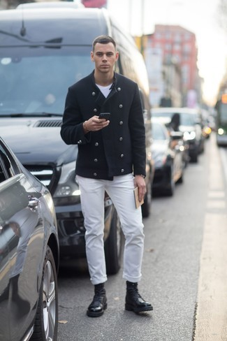 Pea Coat Outfits: For an outfit that's city-style-worthy and casually classic, consider wearing a pea coat and white jeans. Black leather casual boots are a welcome accompaniment to this outfit.
