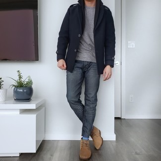 Charcoal Jeans Chill Weather Outfits For Men: This pairing of a black pea coat and charcoal jeans will add casually elegant essence to your ensemble. Add tan suede desert boots to your outfit to tie your full look together.
