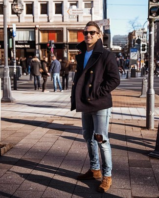 How to Wear a Black Pea Coat: This pairing of a black pea coat and light blue ripped skinny jeans looks pulled together and makes any guy look instantly cooler. If you need to instantly lift up your ensemble with shoes, why not complement this ensemble with brown suede desert boots?