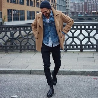 Try teaming a tan pea coat with a black beanie to ooze class and sophistication. This look is complemented perfectly with black leather chelsea boots. We love how ideal this outfit is to keep you comfy and stylish when cold days set it.