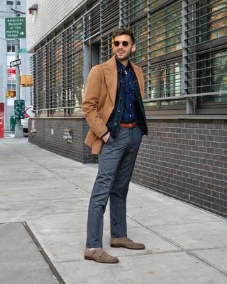 How to wear: tan pea coat, navy denim jacket, navy polka dot long sleeve shirt, grey plaid dress pants