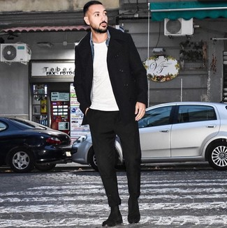 How to wear: black pea coat, blue denim shirt, white crew-neck t-shirt, black chinos