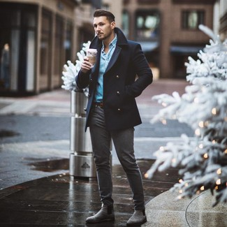 How to wear: navy pea coat, light blue denim shirt, charcoal skinny jeans, grey suede chelsea boots