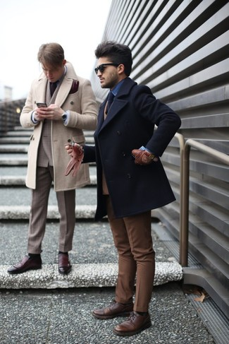 How to wear: black pea coat, tan wool double breasted blazer, blue denim shirt, brown dress pants