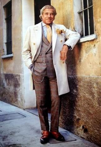 How to wear: white pea coat, dark brown plaid double breasted blazer, light blue gingham dress shirt, dark brown plaid wool dress pants
