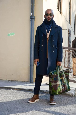 How to wear: navy pea coat, tan wool double breasted blazer, navy turtleneck, black chinos