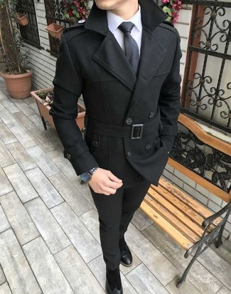 How to wear: black pea coat, white dress shirt, black chinos, black suede chelsea boots