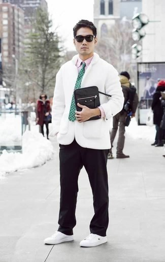 How to Wear a Black Canvas Zip Pouch For Men: For relaxed dressing with a street style finish, you can easily go for a white pea coat and a black canvas zip pouch. White canvas low top sneakers are an effective way to infuse a dash of class into this look.