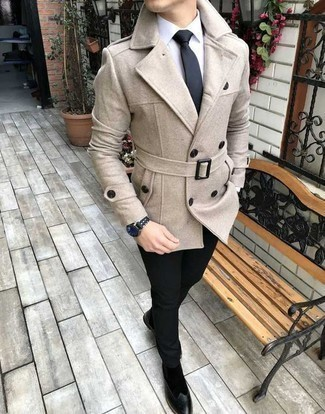 Black Tie Outfits For Men: This is hard proof that a beige pea coat and a black tie are amazing when combined together in a refined look for today's man. Our favorite of an infinite number of ways to finish this getup is black suede chelsea boots.