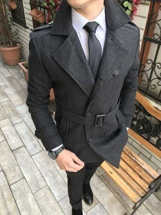 Men's Outfits 2020: Channel your inner James Bond and marry a charcoal pea coat with black dress pants. Why not take a more laid-back approach with shoes and introduce a pair of black suede chelsea boots to your look?