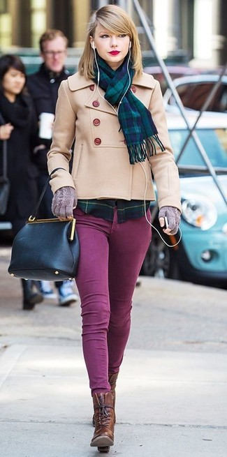 A beige peacoat and purple skinny jeans is a nice combination worth integrating into your wardrobe. This outfit is complemented perfectly with dark brown leather lace-up ankle boots.