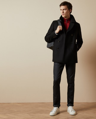 Pea Coat Outfits: Pairing a pea coat with black chinos is a wonderful idea for a casually classic look. Finish your outfit with white leather low top sneakers to serve a little mix-and-match magic.