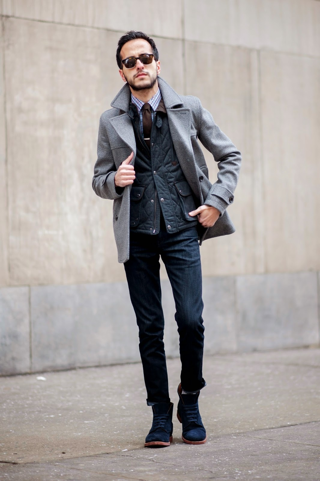 Charcoal Pea Coat | Men's Fashion