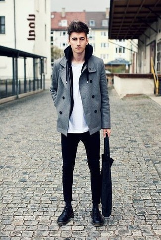 How to wear: grey pea coat, black hoodie, white crew-neck t-shirt, black chinos