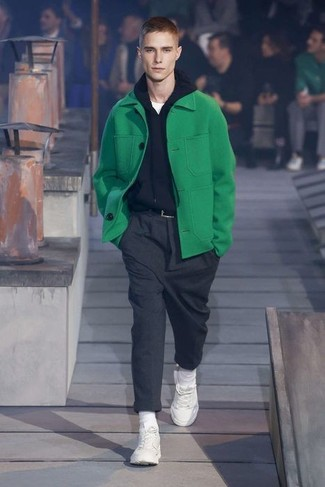How to wear: green pea coat, black hoodie, white crew-neck t-shirt, charcoal wool dress pants