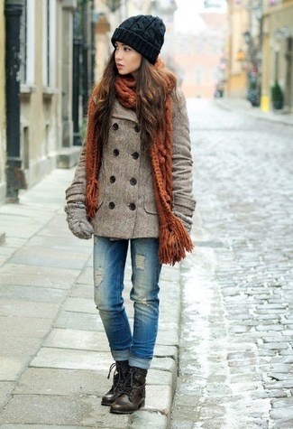 How to wear: brown pea coat, blue ripped jeans, dark brown leather lace-up flat boots, grey wool gloves