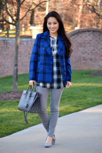 Women's Blue Plaid Pea Coat, Black and White Check Long Sleeve Blouse, Grey Skinny Jeans, Grey Suede Pumps
