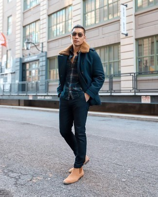 Navy Pea Coat Outfits: Dial up your menswear game by opting for this pairing of a navy pea coat and navy chinos. You can get a bit experimental when it comes to shoes and dress up this outfit by finishing off with a pair of tan suede chelsea boots.