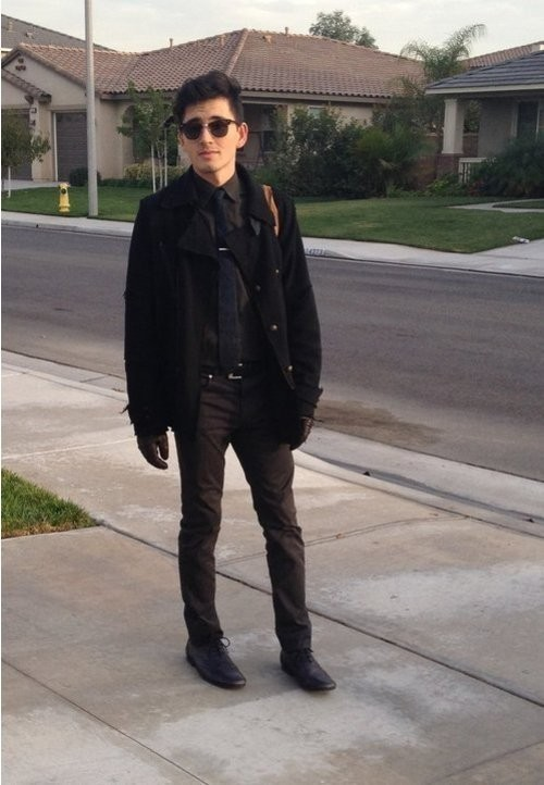 Brown Shoes Black Coat
