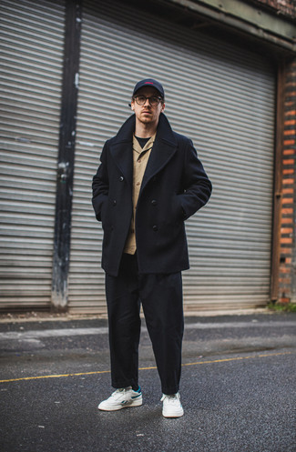 Pea Coat Outfits: For an effortlessly smart getup, marry a pea coat with black chinos — these two items go beautifully together. White and blue leather low top sneakers add a new dimension to an otherwise mostly dressed-up look.