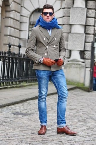 How to wear: grey pea coat, light blue long sleeve shirt, blue jeans, brown leather oxford shoes
