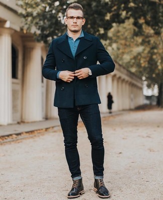 How to wear: navy pea coat, teal polo neck sweater, navy skinny jeans, black leather brogue boots