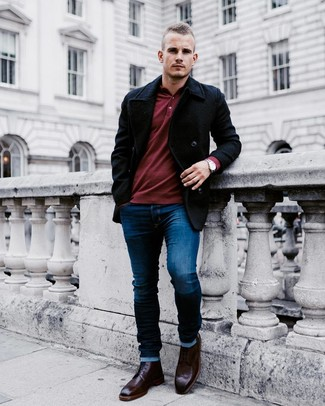 How to wear: black pea coat, burgundy polo neck sweater, navy skinny jeans, burgundy leather brogue boots
