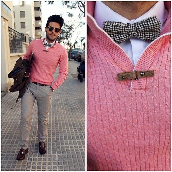Men's Dark Brown Pea Coat, Pink Shawl Neck Sweater, White Dress ...
