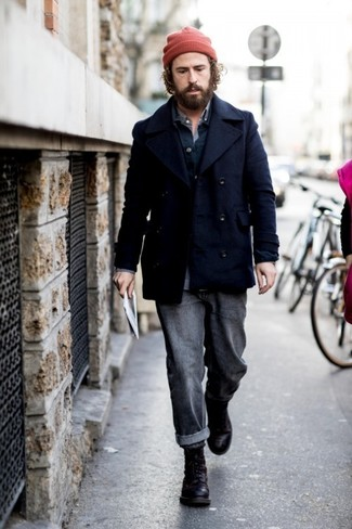 How to Wear Charcoal Jeans For Men: For a casually classy outfit, rock a navy pea coat with charcoal jeans — these two items fit really well together. Add a pair of black leather casual boots to the mix and you're all done and looking dashing.
