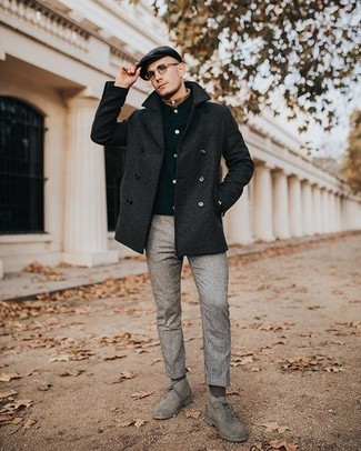 Black Flat Cap Outfits For Men: This combination of a charcoal pea coat and a black flat cap is on the casual side yet it's also dapper and extra dapper. Want to go all out on the shoe front? Complete your ensemble with grey suede desert boots.