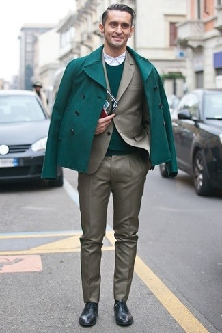 How to wear: green pea coat, olive suit, green crew-neck sweater, white long sleeve shirt