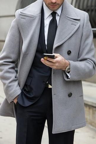 buy good famous designer brand select for genuine Men's Grey Pea Coat, Black Suit, White Dress Shirt, Black ...