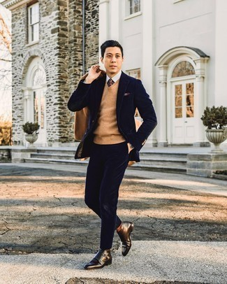 Burgundy Print Pocket Square Outfits: You're looking at the indisputable proof that a tan pea coat and a burgundy print pocket square are awesome when worn together in a relaxed outfit. A pair of dark brown leather chelsea boots will bring a different twist to an otherwise utilitarian look.