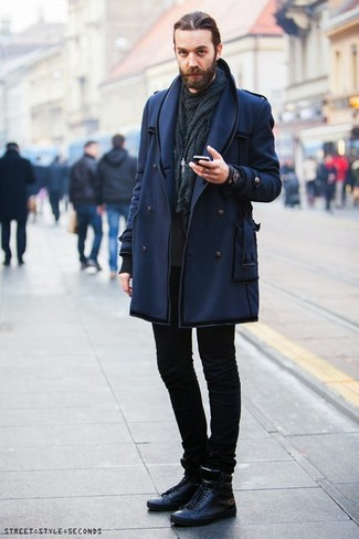 How to wear: navy pea coat, black sweatshirt, black skinny jeans, black leather high top sneakers