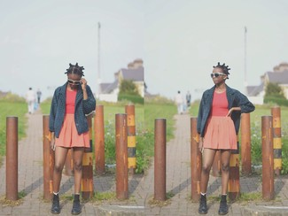 How to wear: navy pea coat, red tank, orange skater skirt, black leather lace-up flat boots