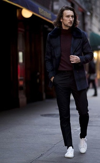 How to wear: navy pea coat, burgundy turtleneck, black chinos, white canvas low top sneakers