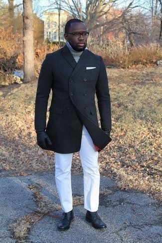 How to Wear a White Pocket Square: A black pea coat and a white pocket square are great menswear essentials that will integrate perfectly within your daily styling routine. Give a different twist to your ensemble with a pair of black leather casual boots.
