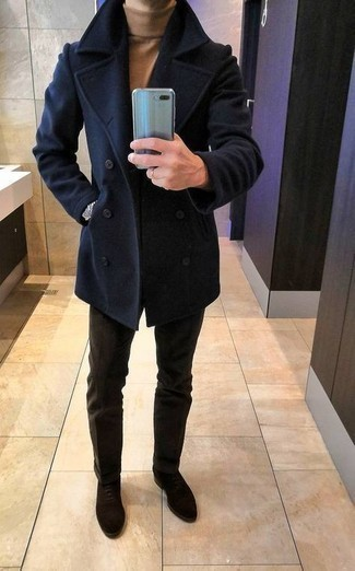 Dark Brown Suede Oxford Shoes Outfits: This combination of a navy pea coat and dark brown chinos comes in handy when you need to look casually smart in a flash. Dark brown suede oxford shoes will put an elegant spin on your look.