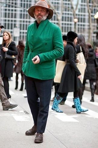 Pea coat turtleneck dress pants derby shoes hat large 2245