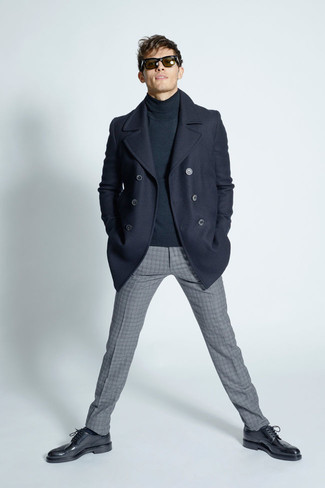Pairing a navy pea coat and grey check wool suit pants will create a powerful and confident silhouette. Dress down this getup with black leather brogues.