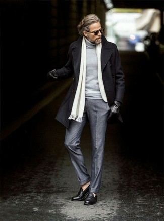 How to wear: black pea coat, grey turtleneck, grey wool dress pants, black leather loafers
