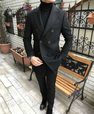 How to wear: black pea coat, black turtleneck, black dress pants, black suede chelsea boots