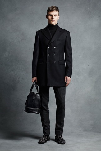 How to wear: black pea coat, black turtleneck, black wool dress pants, black leopard suede loafers