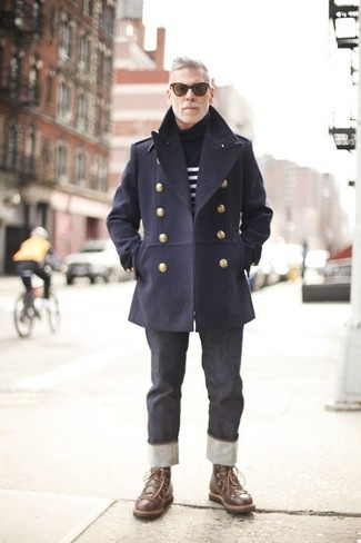 How To Wear a Pea Coat With Brown Leather Boots | Men's Fashion