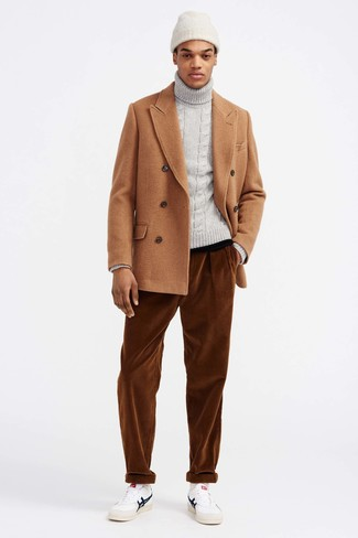 How to wear: tan pea coat, grey knit turtleneck, tobacco corduroy jeans, white leather low top sneakers