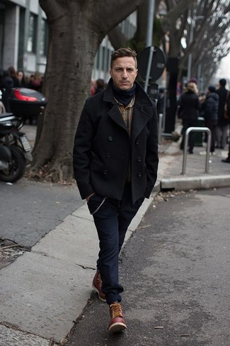 How to Wear a Black Pea Coat: If you don't take fashion lightly, go for refined style in a black pea coat and navy chinos. Want to play it down in the footwear department? Add burgundy leather work boots to the mix for the day.