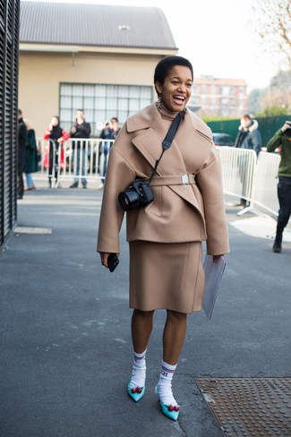 How to wear: beige pea coat, beige turtleneck, beige wool pencil skirt, aquamarine leather pumps