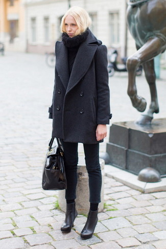 How to wear: charcoal pea coat, black knit turtleneck, black skinny jeans, black leather ankle boots